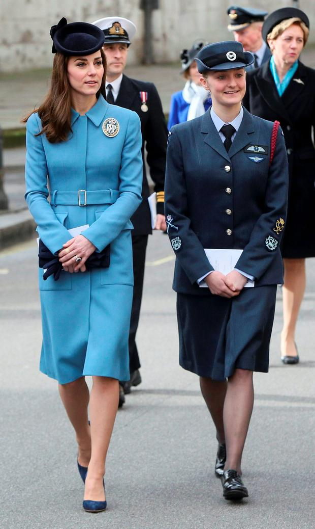 Britain's Catherine, Duchess of Cambridge (L) walks to a reception after attending an event to mark the 75th anniversary of the RAF Air Cadets, at St Clement Danes church in London, Britain February 7, 2016. Picture: REUTERS/Neil Hall
