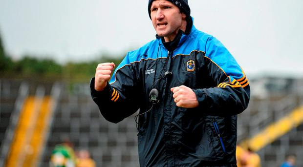 Roscommon manager Fergal O'Donnell celebrates at the final whistle after victory over Kerry.