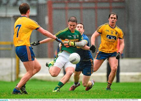 Kerry's Stephen O'Brien shoots to score past Roscommon goalkeeper Darren O'Malley during their National league defeat