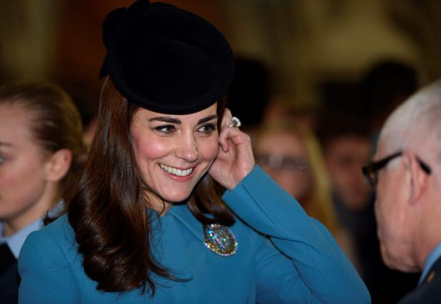 Catherine, Duchess of Cambridge arrives to the service of the 75th Anniversary of the RAF Air Cadets at St Clement Danes Church on February 7, 2016 in London, England. (Photo by Eddie Mulholland - WPA Pool/Getty Images)