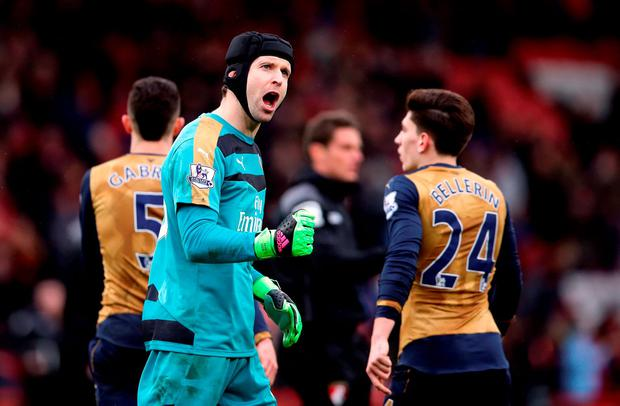 Arsenal goalkeeper Petr Cech celebrates victory after the Barclays Premier League match at the Vitality Stadium, Bournemouth