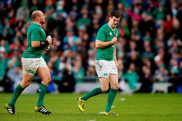 Ireland's Rory Best (left) and Jonathan Sexton
