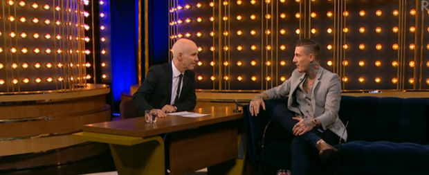 Celebrity Big Brother contestant Jeremy McConnell chats with Ray D'Arcy. Photo: RTE