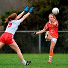 Blahen Mackin, Armagh, in action against Shannon Quinn, Tyrone. Picture credit: Oliver McVeigh / SPORTSFILE