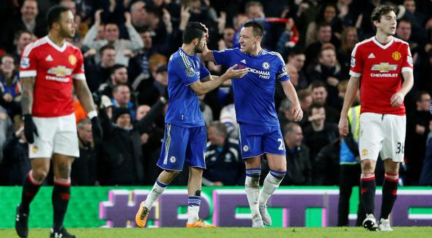 Chelsea's Diego Costa celebrates scoring with John Terry
