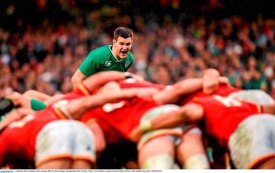Jonathan Sexton looks on at scrum time during the 16-16 draw between Wales and Ireland at the Aviva Stadium