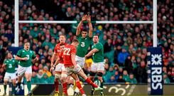 Conor Murray races out in an attempt to block Rhys Priestland's late drop goal which sailed wide. Photo: Sportsfile