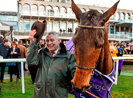 Trainer John Kiely with Carlingford Lough after winning the Irish Gold Cup at Leopardstown. Photo: Brendan Moran / Sportsfile