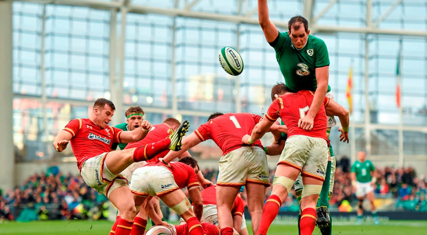 Devin Toner blocks down the kick of Gareth Davies during Ireland's draw against Wales. Picture credit: Stephen McCarthy / Sportsfile