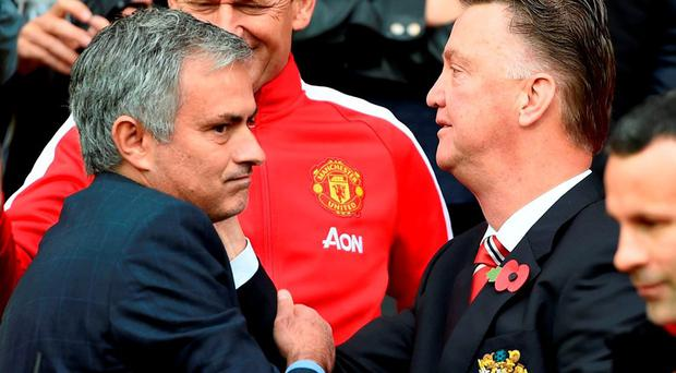 Manchester United manager Louis van Gaal and Jose Mourinho
