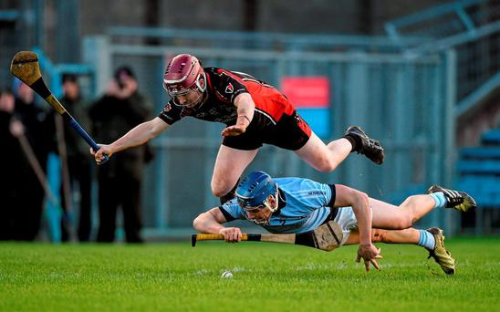 Mike Casey of Na Piarsaigh and Oulart's Nicky Kirwan battle for possession during Saturday's All-Ireland SHC club semi-final in Thurles. Photo: Diarmuid Greene / Sportsfile