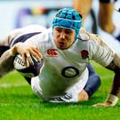 England's Jack Nowell scores his side's second try. Photo: PA