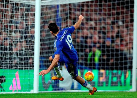 Diego Costa equalises for Chelsea. Photo: PA