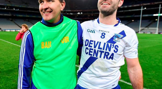 St Mary's manager Maurice Fitzgerald and Bryan Sheehan following their victory. Photo: Stephen McCarthy / Sportsfile