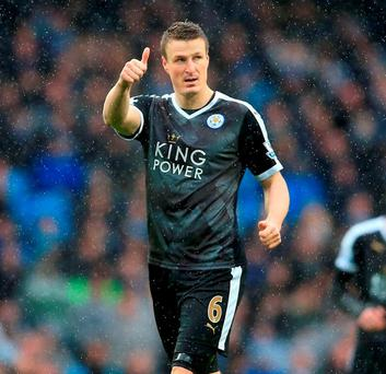 Robert Huth celebrates after scoring against Manchester City. Photo: Nigel French/PA Wire