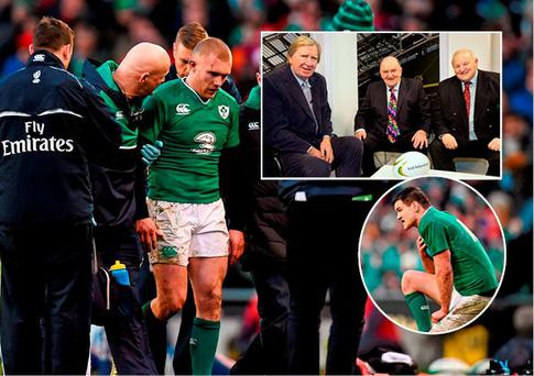 Keith Earls and Johnny Sexton both suffered injuries yesterday and (inset) Tom McGurk, George Hook and Mick Quinn will be bringing you exclusive live coverage of the Six Nations on Independent.ie