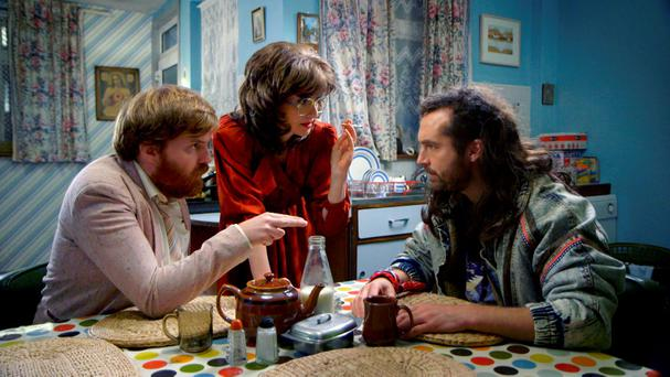 Bernard O'Shea, Jennifer Zamparelli, and Keith Walsh in Bridget & Eamon, RTE 2