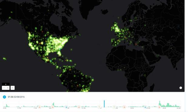 Map showing conversation generated during the Super Bowl 50 halftime show