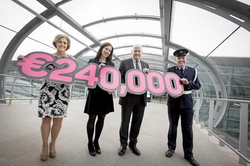 Celebrating €240k raised by daa staff last year are (LtoR) daa Charity Chairperson Siobhán O'Donnell; Helen Biddy, Temple Street; Tom Walsh Diabetes Unit, Crumlin Children's Hospital, daa Charity Secretary, Brendan Lavin, Airport Police.