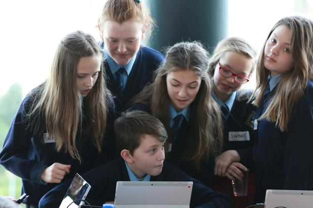 Pictured at MindRising event at DCU were students of of Mother Mary of Hope, SNS, Littlepace, Clonee, Dublin. (Left-Right): Rachel Nedelea, Kate-Rose Twomey, Ruth Ross, Isobel Doyle, Ellen Egan and in the front on the tablet was Conor Hall. Picture Nick Bradshaw