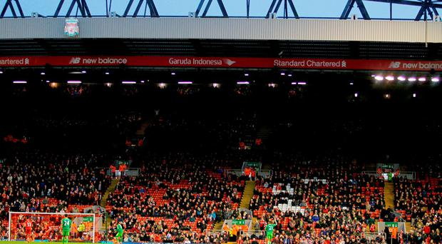 The Kop end after fans walk out on 77 minutes in protest over ticket prices during the Barclays Premier League match at Anfield on Saturday.