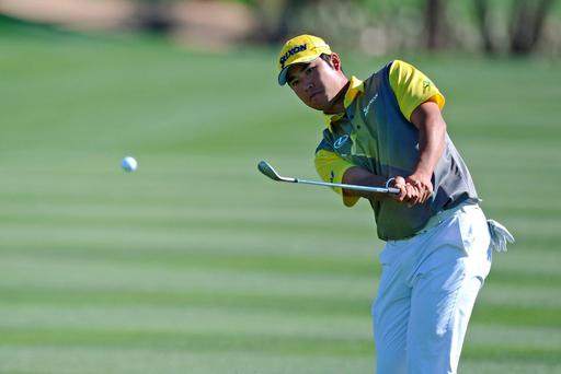 Hideki Matsuyama plays a shot on the 13th hole. Photo: Joe Camporeale/USA Today Sports