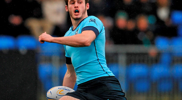 Jack Kelly breaks free to score St Michael's College's third try at Donnybrook Stadium. Photo: Sam Barnes / Sportsfile