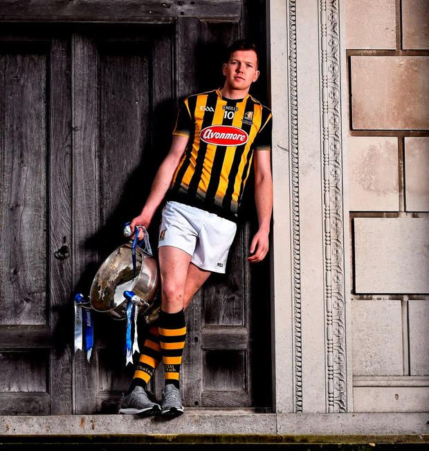 Walter Walsh of Kilkenny with the Allianz NHL trophy at yesterday's launch in Dublin. Photo: Brendan Moran/Sportsfile