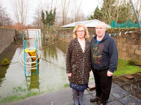 Education Minister Jan O'Sullivan visited Colm Walsh in his flooded back yard in Limerick while out canvassing. Photo: Liam Burke/Press 22