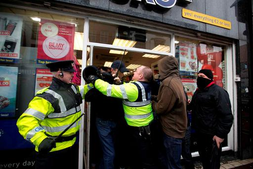 Protesters and gardai with battons drawn were involved in scuffles in Dublin city centre. Photo: Sam Boal/Rollingnews.ie