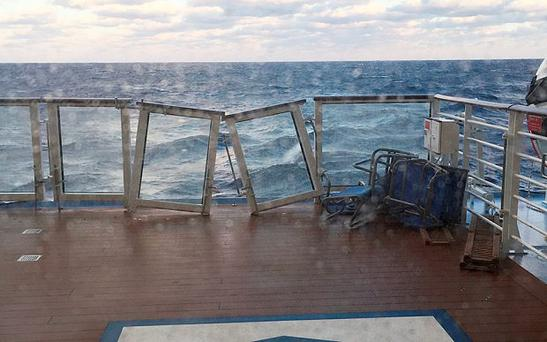 Cruiser Anthem of the Sea was on her way back to port after being battered by hurricane-force winds on its way to the Bahamas