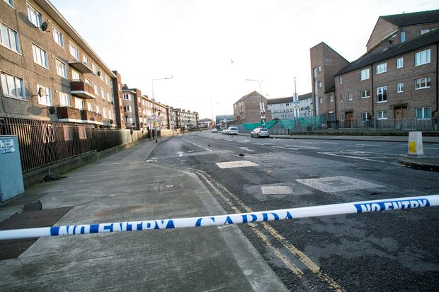 Scene of the fatal shooting of Eddie Hutch Snr last night