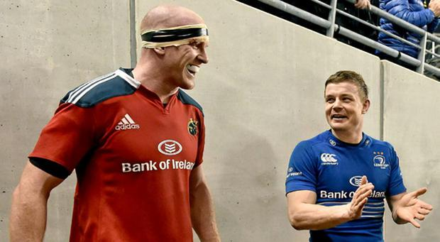 Paul O'Connell and Brian O'Driscoll during their final game against each other in 2014