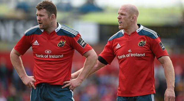 Donnacha Ryan in action alongside Paul O'Connell during their Munster playing days