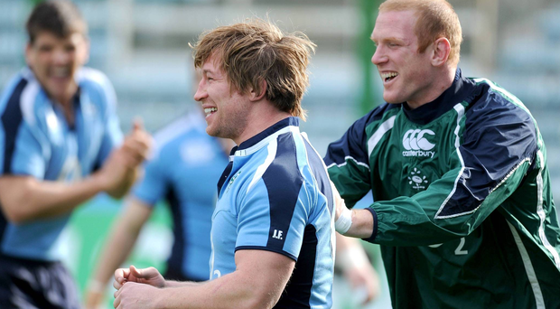Jerry Flannery and Paul O'Connell during an Ireland training session in 2009