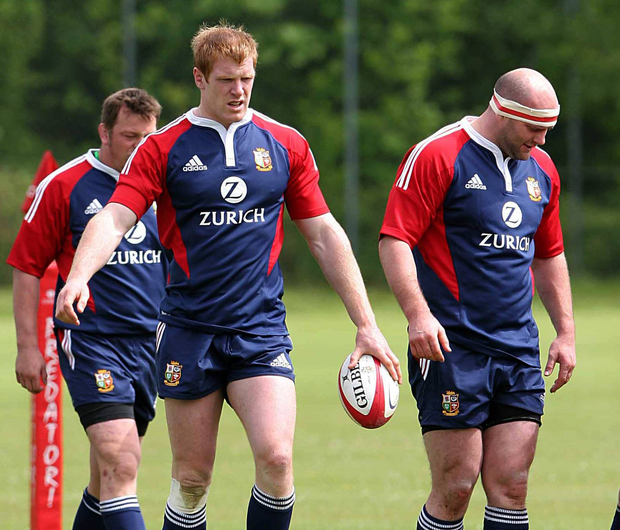 20 May 2005; Paul O'Connell and John Hayes during a British and Irish Lions training session. University of Glamorgan playing fields, Treforest, Cardiff, Wales. Picture credit; Tim Parfitt / SPORTSFILE