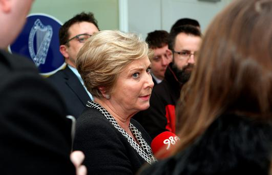 Justice Minister Frances Fitzgerald talks to the media following the gangland killings. Photo: Tom Burke