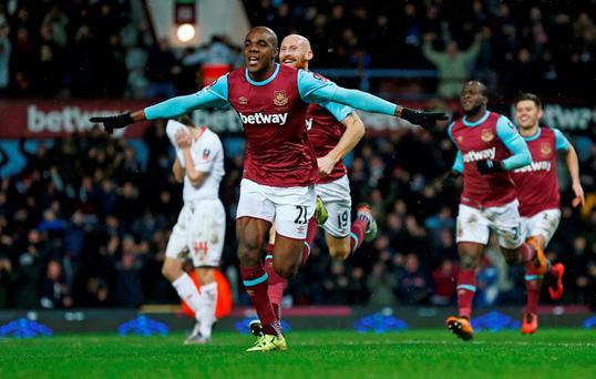Angelo Ogbonna celebrates scoring the winning goal for West Ham United