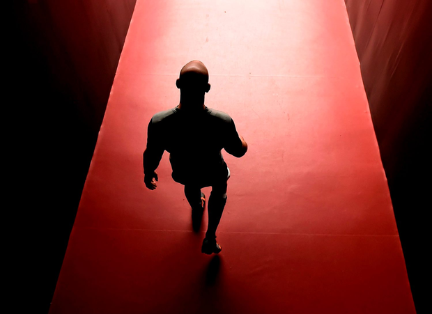 Paul O'Connell walks out to the Millennium Stadium pitch last March: Brendan Moran / SPORTSFILE