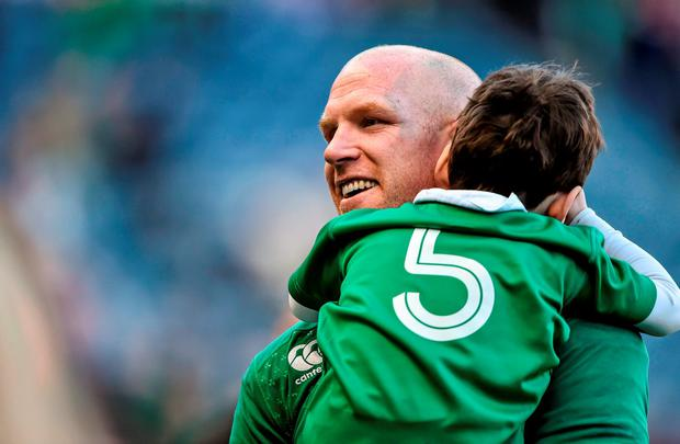 Paul O'Connell with his son Paddy after defeating Scotland in last year's Six Nations: Brendan Moran / SPORTSFILE