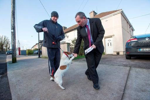 Jerry Buttimer met Gerry Murphy and his dog on the canvass in Douglas in Cork South Central. Photo: Mark Condren