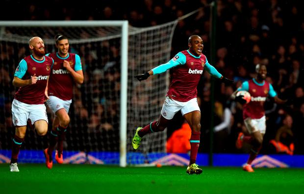 West Ham's Angelo Ogbonna celebrates his late winner against Liverpool: Mike Hewitt / Getty Images