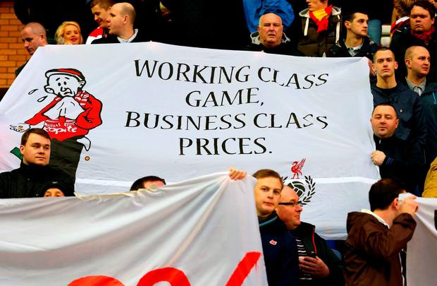 Liverpool supporters demonstrate against the club's proposed new ticket prices for next season: Alex Livesey / Getty Images
