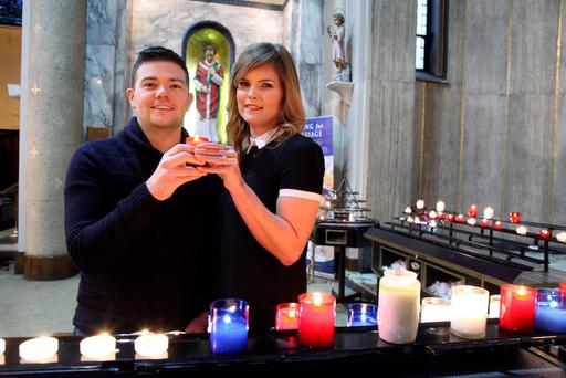 Deirdre Eighan and Sean Whelan marked their engagement with a blessing at the saint's shrine in Whitefriar Street Church in Dublin. Pic John Mc Elroy