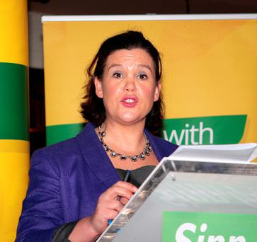 Mary Lou McDonald at the launch of the Sinn Féin manifesto. Photo: Tom Burke