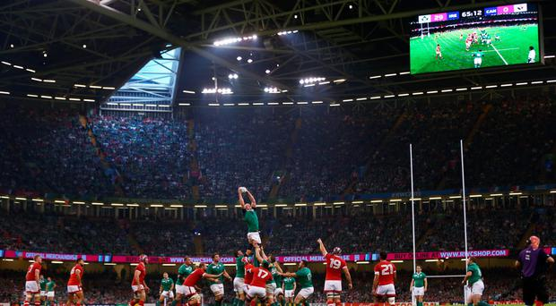 Paul O'Connell soars highest in trademark pose to win a lineout during last year's World Cup clash against Canada at the Millennium Stadium. Photo: Getty