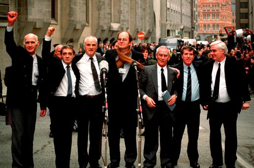 Birmingham Six (left-right) John Walker, Paddy Hill, Hugh Callaghan, Chris Mullen MP, Richard McIlkenny, Gerry Hunter and William Power outside the Old Bailey in London after their convictions were quashed Credit: Sean Dempsey/PA Wire