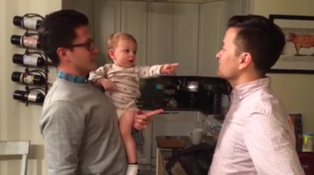 Baby Reed is confused when he meets his dad's identical twin brother