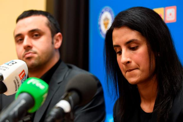 Lilas Javeed (right), daughter of Akhtar Javeed, during a police press conference to appeal for information about the murder of her father in the Digbeth area of Birmingham Credit: Joe Giddens/PA Wire
