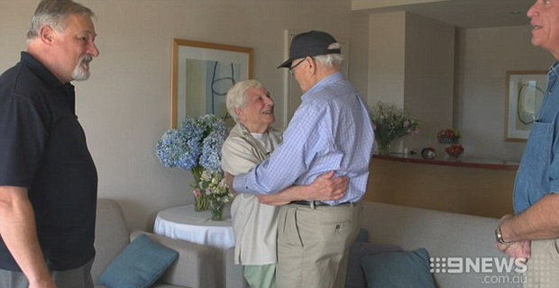 Mr Thomas, who lives in Virginia, USA, was joyously reunited with Ms Durrant Photo Credit 9News.com.au